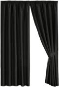 Dreams 'n' Drapes Java Black Eyelet Lined Curtain 66x72