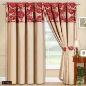 170cm x180cm Half Flock Pencil Pleat Luxurious Pair Of Curtains With Matching Tie Backs Cream Red66x72