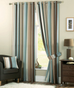 Whitworth Duck Egg Blue Stripe Readymade Lined Eyelet Curtains - 170cm x 140cm nch