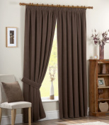 Dreams 'n' Drapes Chenille Spot Single Pass Thermal Coated Curtains, 7.6cm , 170cm x 180cm , Chocolate