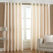 Fiji Faux Silk Eyelet Lined Curtains, Cream, 230cm x 230cm