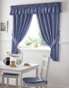 Gingham Kitchen Curtains Blue 46 x 54