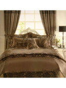 Gaveno Cavailia Royal Armask Chocolate/Chocolate Fully Lined Curtains 170cm Wide x 180cm Drop