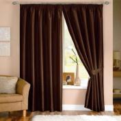 Java Faux Silk Pencil Pleat Lined Curtains, Chocolate, 120cm x 140cm