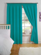 Light Reducing Thermal Backed Curtains- Size 170cm Width x 140cm Drop Colour Teal