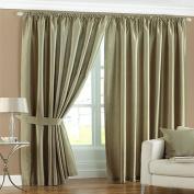 Fiji Faux Silk Pencil Pleat Lined Curtains, Sage, 120cm x 180cm