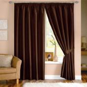 Java Faux Silk Pencil Pleat Lined Curtains, Chocolate, 170cm x 180cm