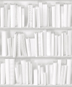 White / Grey - J43090 - Photo Bookcase Bookshelf Library - Muriva Wallpaper