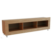 Rge Designs Multi Media TV Storage and Display Unit includes Two Glass Storage Shelves, 120 x 40 x 53 cm, Oak