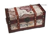 Wooden Storage Trunk/Treasure Box-Antique Sailing Map Pattern