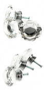 Vktech 10Pc 40mm Crystal Glass Diamond Shape Cabinet Knob Drawer Pull Handle Kitchen