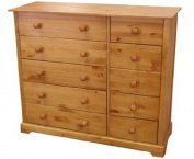Baltic 5 plus 5 Drawer Chest - Chest of Drawers - 5 Wide Drawers - 5 Small Drawers - Pine - Antique Pine Finish
