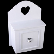 Landon Tyler Natural Interiors Handcrafted White Wooden Key Cabinet with Jewelled Heart 26cm 83-9522