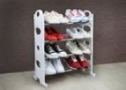 WHITE 4 TIER SHOE RACK/organiser FOR 12 PAIR SHOES