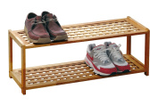 Premier Housewares 2-Tier Wood Shoe Rack, 30 x 79 x 26 cm, Natural