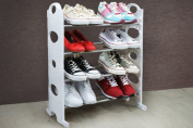4 Tier White Free Standing Shoe Rack Stand Storage Organiser Shelf