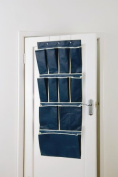 11 Pocket Over Door Shoe Organiser by H & L Russel - Blue