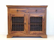 Indian Jali Thakat 2 Door 2 Drawer Small Sideboard