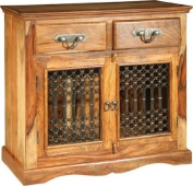 KHERI RUSTIC FARMHOUSE INDIAN SHEESHAM & ACACIA WOOD 2-DRAWER SIDEBOARD CONSOLE TABLE ** FULL RANGE OF MATCHING FURNITURE IS AVAILABLE FOR BEDROOM, LIVING ROOM, KITCHEN, DINING ROOM, BATHROOM & HALL - OVER 60 ITEMS **