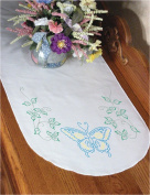 """Stamped Perle Edge Dresser Scarf 38cm X42""""-Butterfly"""