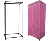 SINGLE CANVAS WARDROBE RAIL CLOTHES STORAGE COVER PINK