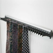 1 WARDROBE DOOR TIE RACK SILVER & BLACK