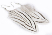 WHITE Feather French Hook Earrings - Price Per 2 Earrings