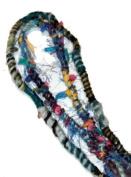 Fuzzy, Raggedy Blue Colours Hippie Hair Wraps Hair Extensions for Dreads, Braids, Curls