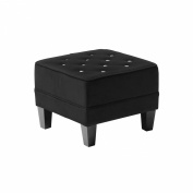 Premier Housewares 39 x 48 x 48 cm Velvet Chesterfield Diamante Footstool, Black