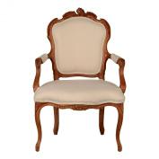 Premier Housewares 92 x 61 x 72 cm Valentina Solid Wood Armchair, Cream