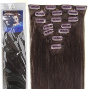 50cm 7pcs Fashional Clips in Remy Human Hair Extensions 24 Colours for Women Beauty. 02-dark brown)