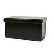 New Large Ottoman Foldaway Storage Blanket Toy Box Bench Faux Leather Black 76x38cms
