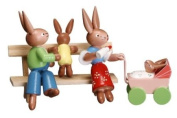 Cute Miniature Bunny Couple with One Baby on Park Bench and Other in Carriage 7.6cm