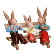 Cute Miniature of Bunny Couple with Baby Girl on Park Bench 7.6cm
