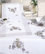 Lavender Bench Embroidery Tablecloth - 90 x 90cm - Embroidery Kit