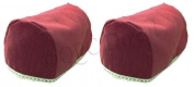 Pair of Luxury BURGUNDY CHENILLE Chair Arm Cover/Protector with lace trim, arm cap