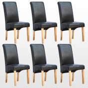 6 x CAMBRIDGE LEATHER BLACK DINING CHAIR w OAK FINISH WOOD LEGS ROLL TOP HIGH BACK