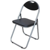 Folding Chair Black Leather Effect Seat With Silver Powder Coat Frame New
