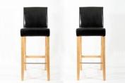 2x Barstools wood black Faux leather adjustable floor glides Michael