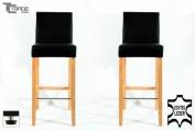 2x Barstools wood black Real leather adjustable floor glides Michael
