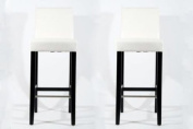 2x Barstools wood White Faux leather adjustable floor glides Michael
