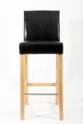 Barstools wood black Faux leather adjustable floor glides Michael