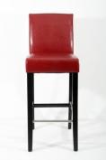 Barstools wood wine-red Faux leather adjustable floor glides Michael