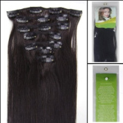 Straight 46cm 1b Black with Brown Clip in Remy Human Hair Extensions_7 Pieces Set_clips 70g Each Set Women Beauty Style