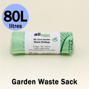 80 Litre x 20 bags Compostable Garden Waste Sacks - Biobag Liners - EN 13432 - Biobags 80L Bin Bags with Composting Guide
