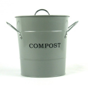 Metal Kitchen Compost Caddy (Flint Grey colour) & Composting guide - Composting Bin for Food Waste Recycling