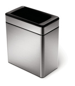 simplehuman Profile Open Bin with Brushed Stainless Steel Finish, 10 Litre