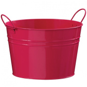 Atrractive Bucket Made Of Pink Zinc With Double Handles & Round Shape