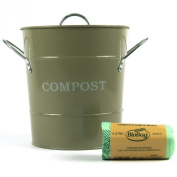 Metal Kitchen Compost Caddy (Gooseberry Green colour) & 30x 5L Biobags & Composting guide - Composting Bin for Food Waste Recycling