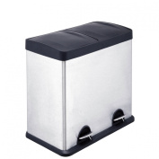 Recycle Pedal Bin Made Of Stainless Steel With 2 Compartment & Inner Plastic Buckets